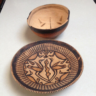 Vintage Hand Carved/Illustrated African Bowls, Lot of 2 - PRICE REDUCED