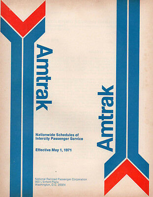 Amtrak Public Timetable First Issue May 1 1971