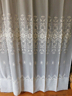 Exquisite Vtg French Voildieu Embroidered Curtain Panel France. 60 x 84 inches
