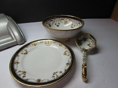 Stunning Vintage Nippon Cobalt And Gold Sauce Set Plate Bowl And Ladle