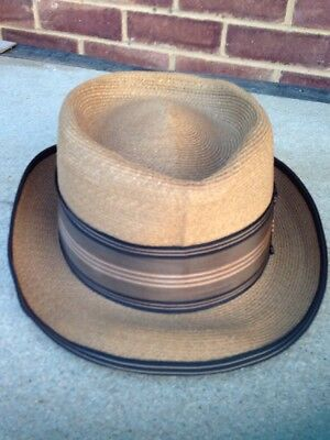 Vintage Dobbs Fifth Avenue Mens Straw Fedora Hat Simpson Picadilly Size 7