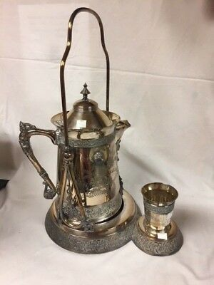 Meridian Silver Co. Antique Tilting Water Pitcher with Cup