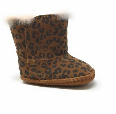 new ugg infant girl erin leopard sparkle black booties size xs (0/1 ...