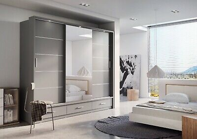 Brand New Modern Bedroom Sliding Door Wardrobe ARTI 1 250cm in Grey Matt Mirror