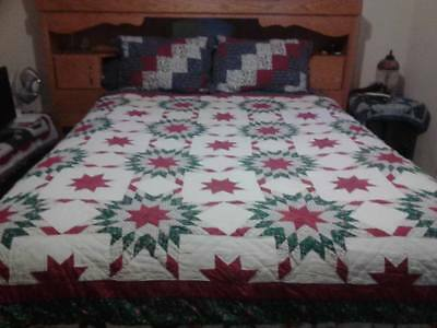 """Vintage Beautiful Hand Made Medallion 25 Star Country Quilt """"a Big 86 X 88"""""""