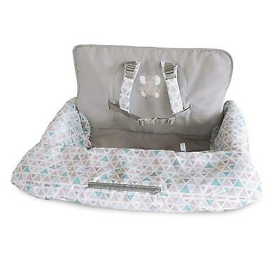 Carter's 2-in-1 Shopping Cart and High Chair Cover Triangles, Grey/Blue