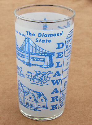 Vintage Delaware Frosted State Souvenir Glass Tumbler