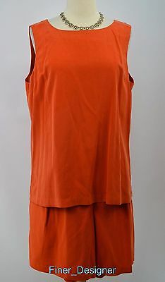 Saks Fifth Avenue Real Clothes silk shorts 2pc set outfit top cami blouse XL VTG