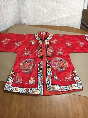 Rare Vintage Silk Golden Bee Chinese Robe Hand Embroidered Kelly Red Shirt