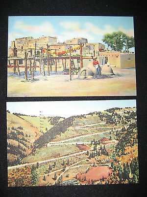 Taos Indian Pueblo Village Red River Pass Switchbacks New Mexico 2 Vtg Postcards