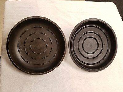 VINTAGE UNMARKED Cast Iron DUTCH OVEN LIDS #8 Griswold & Fav P? Lot of 2