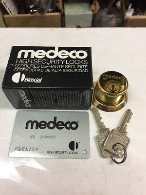 Medeco 10-100 Biaxial Mortise Cylinder in Brass - Card With 5Keys - N3 Keyway