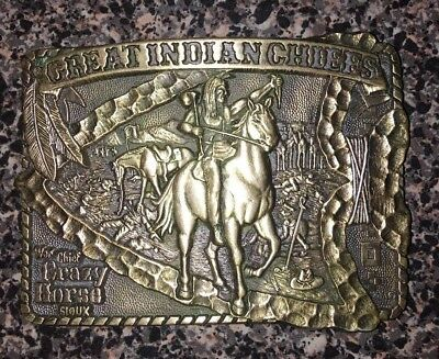 Vintage 1983 Great American Chief Series Crazy Horse Solid Brass Buckle New