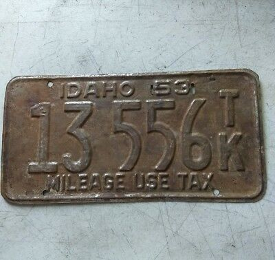 1953 State Of Idaho License Plate 13556 T/K MILEAGE USE TAX plate