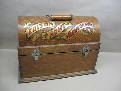 Edison Suitcase Cylinder Home Banner Phonograph Player Tiger Oak Wood Case Only