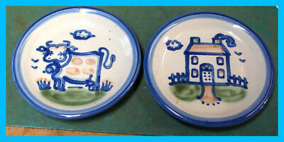 """2 (two) M A HADLEY 4.25"""" SMALL PLATES HOUSE & COW HAND PAINTED SIGNED wr"""