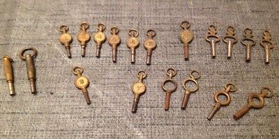Antique Pocket Fob Watch Keys Collection Of 19 From Watchmakers Parts Collection