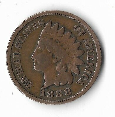 Rare Very Old Antique Collectible US 1888 Indian Head Penny USA Coin Collection