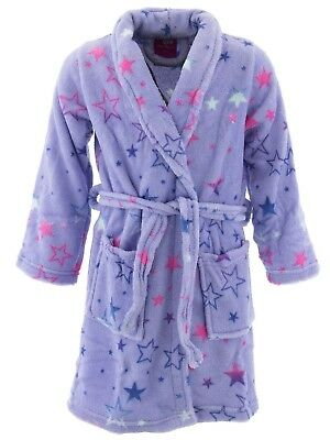 Chili Peppers Girls Lavender Stars Fleece Bathrobe