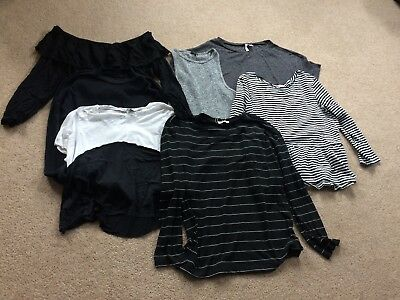 Womens Various Branded Black/White/Grey Clothing Bundle - 7 tops - size 10/12
