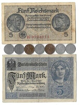 Vintage German Rare Old WWI WWII Germany Great War Note Coin WW2 Collection Lot