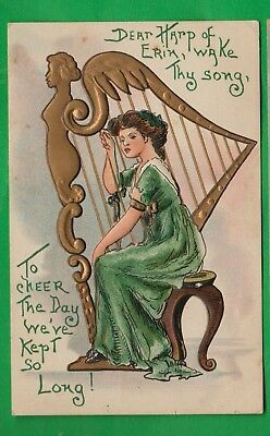 St. Patrick's Day embossed pc/ lady in green playing large gold harp/poem