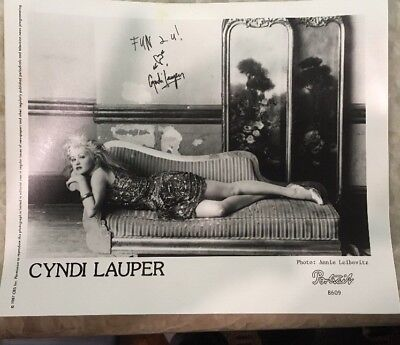 "Signed CYNDI LAUPER Portrait Press Promo 8x10"" Photograph By Annie Leibovitz"