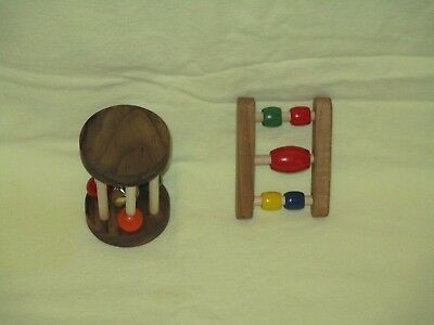 2 Infant Toys, Baby, play toys, New, wooden, handmade, rattles, hardwood USA