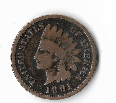 Rare Very Old Antique Collectible US 1891 Indian Head Penny USA Coin Collection