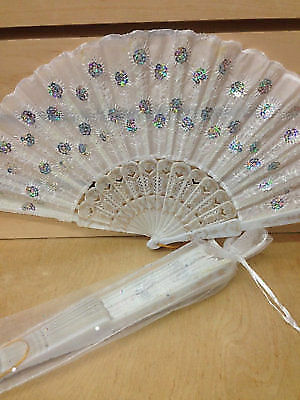 12 white wedding summer hand fan Folding Fans Wedding Shower Party Gift Favors