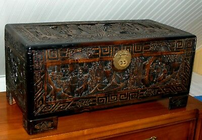 Antique CHINESE CARVED CHEST Camphor Wood Box Blanket Trunk Vintage Cedar