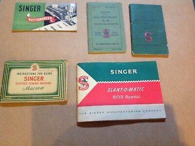 Vintage Singer Sewing Machine booklets 1948 1951 1954 1961 1 rare Great Britain