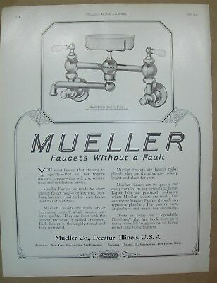 1924 Vtg Big ad Mueller faucets without a fault - Let them grow up in Kaynee