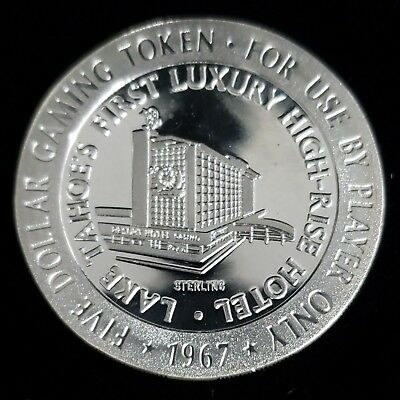 1967 Harvey's Hotel Casino $5 Sterling Silver Proof Gaming Token Chip >GTHH72