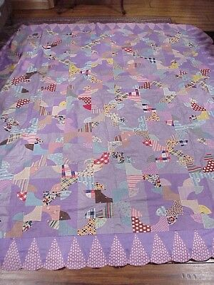 "Antique 1930's 90""x78""  ""Scrappy Drunkards Path"" Quilt Top"