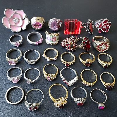 29pc Vintage Red & Pink Cocktail Ring Lot Rhinestone Flower Crystal Cute! WW32