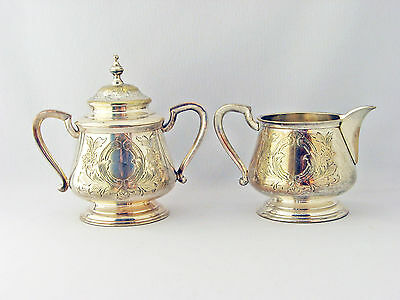 Antique Cream and Sugar Set Silverplate unknown maker  C. 1900 very heavy