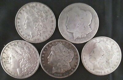 5 Morgan Dollars Pre-1921 Date Lot -  Silver Bullion Coins Not Junk, You Grade H
