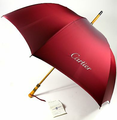 New Le Veritable Cherbourg Golf Umbrella For Cartier In Wine Red With Label
