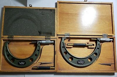 Lot Of 2 Mitutoyo Micrometers In Cases Machinist Tools 103-219, 103-220 Set