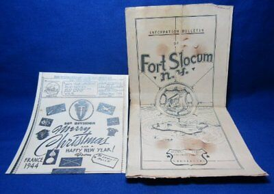 WWII France 1944 36th Division Christmas Card & Fort Slocum Bulletin Lot Of 2