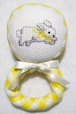 "Hand~Cross Stitched Yellow Fabric Bunny Soft Baby Rattle 4 1/2""~Easter"