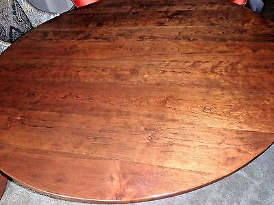 """Gorgeous Refinished Mid Century Solid Cherry Curly Plank 66"""" Round Dining Table"""