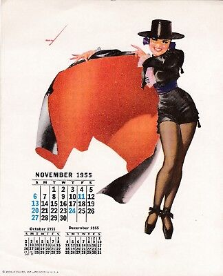 PETTY - NOV  1955  art illustrated  PIN-UP/CHEESECAKE  model  CALENDER  page