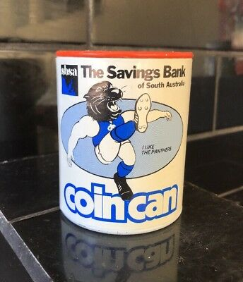 SOUTH ADELAIDE PANTHERS SANFL SBSA Vintage 1970's Coin Bank Money Tin RARE