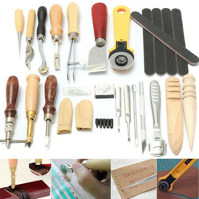 24 Tlg. Leder Werkzeug Stitching Craft Hand Sewing Stitching Groover Kit Sets