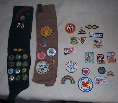 Vintage Girl Scout  Sashes (2) with 18  Patches