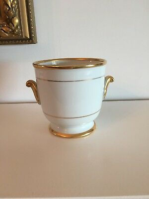 Limoges-Like Porcelain White with Gold Planter /Cache Pot /Flower Pot