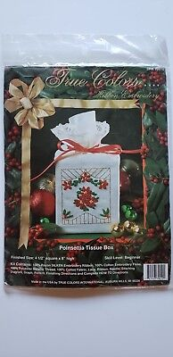 True Colors Poinsettia Tissue Box Ribbon Embroidery Kit