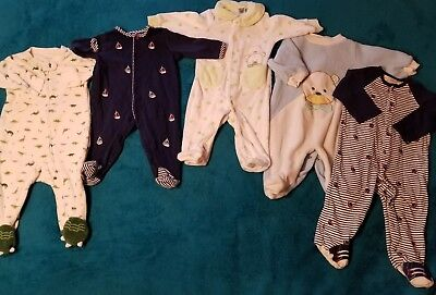 Lot Of 6 & 9 Month Footed Sleepers* 5 Pieces * Carter's *Little Me*